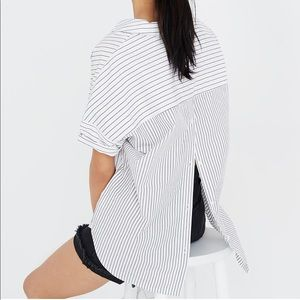 Madewell Courier Button Back Shirt in Stripe Play